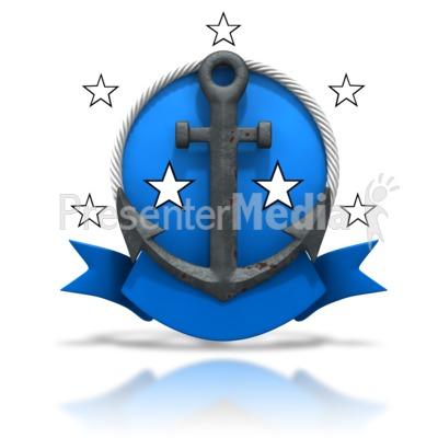 Rusty Anchor Badge Stars PowerPoint Clip Art
