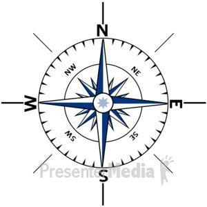 ID# 3606 - Nautical Compass Outline - Presentation Clipart