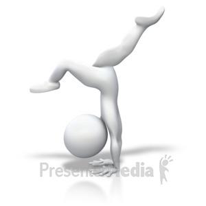 ID# 3619 - Stick Figure Gymnastics Split Handstand - Presentation Clipart