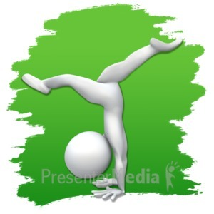 ID# 3620 - Stick Figure Gymnastics Icon - Presentation Clipart