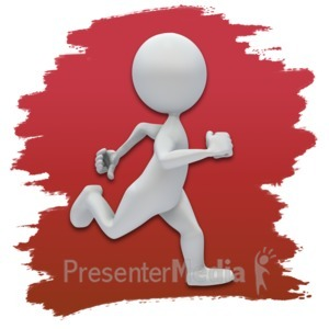 ID# 3621 - Stick Figure Running Icon - Presentation Clipart