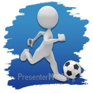 ID# 3623 - Stick Figure Soccer Icon - Presentation Clipart