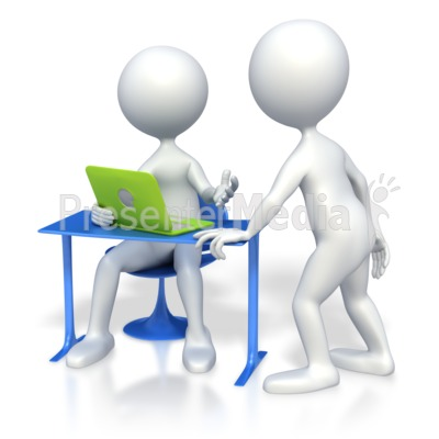 Two Stick Figures Meeting by Laptop PowerPoint Clip Art