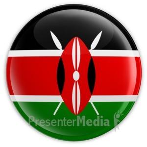 ID# 3630 - Kenya Flag Button - Presentation Clipart