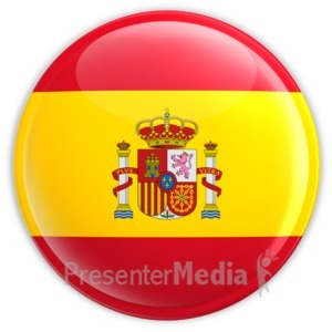 ID# 3633 - Spain Flag Button - Presentation Clipart