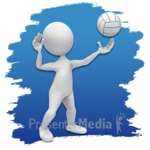 ID# 3638 - Stick Figure Volleyball Icon - Presentation Clipart