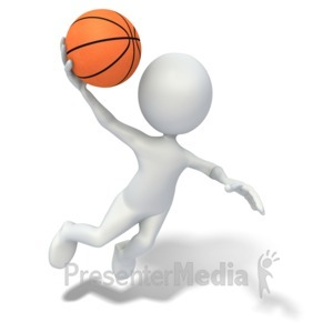 ID# 3659 - Stick Figure Slam Dunking Basketball - Presentation Clipart