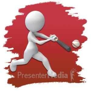 ID# 3662 - Stick Figure Baseball Icon - Presentation Clipart