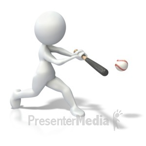 ID# 3663 - Stick Figure Swinging Bat Baseball - Presentation Clipart