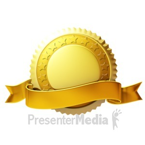ID# 3665 - Gold Seal With Ribbon - Presentation Clipart