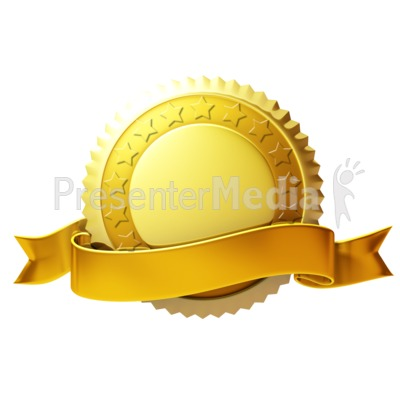 Gold Seal With Ribbon PowerPoint Clip Art