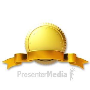 ID# 3667 - Gold Seal Gold Ribbon - Presentation Clipart