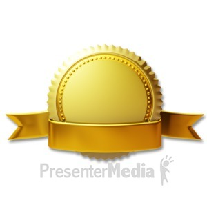 ID# 3670 - Gold Seal Ribbon - Presentation Clipart