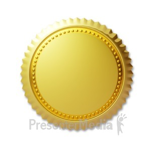 ID# 3673 - Simple Gold Seal - Presentation Clipart