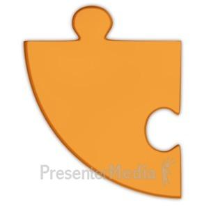 ID# 3688 - Pie Chart Puzzle Piece Orange  - Presentation Clipart
