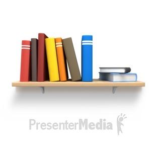ID# 3700 - Books On Wooden Bookshelf - Presentation Clipart