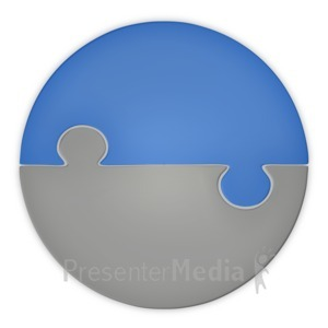 ID# 3717 - Puzzle Piece Pie Chart Two Halfs - Presentation Clipart