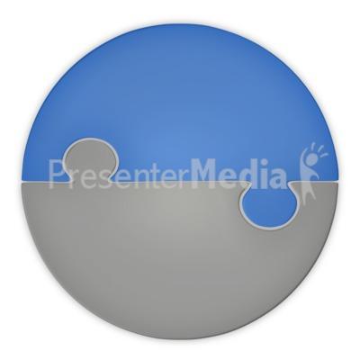 Puzzle Piece Pie Chart Two Halfs PowerPoint Clip Art