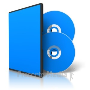 ID# 3726 - Two Colored Dvds And Blank Case - Presentation Clipart