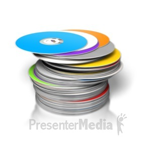 ID# 3729 - Large Pile DVDs/CDs Stacked - Presentation Clipart
