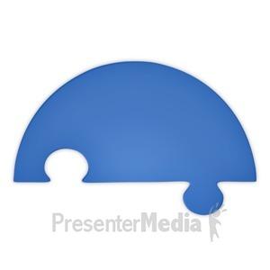 ID# 3740 - Puzzle Piece Half Blue - Presentation Clipart