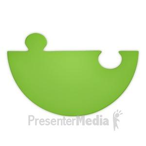 ID# 3741 - Green Puzzle Piece Half - Presentation Clipart