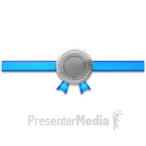 ID# 3761 - Silver Seal Horiztonal Ribbon - Presentation Clipart