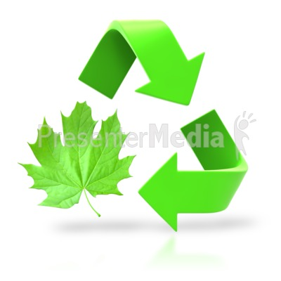 Leaf Circle Recycle Arrows PowerPoint Clip Art