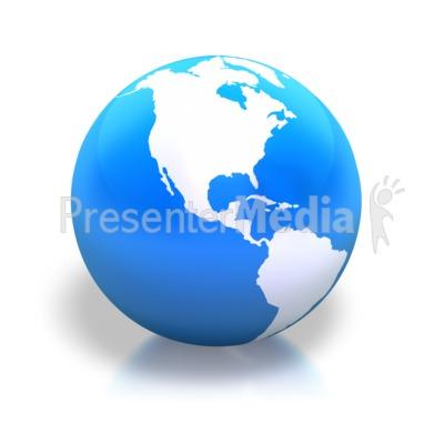 Earth Americas Blue Shiny PowerPoint Clip Art