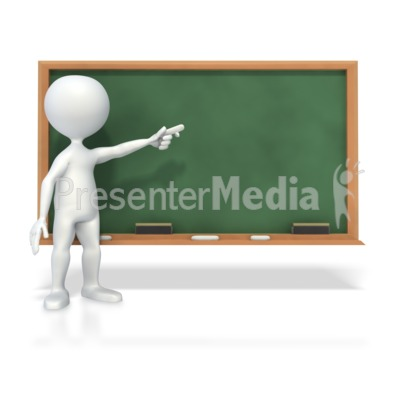 Stick Figure At Chalk Board  PowerPoint Clip Art