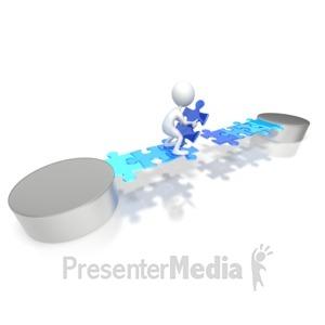 ID# 3816 - Stick Figure Build Puzzle Bridge - Presentation Clipart
