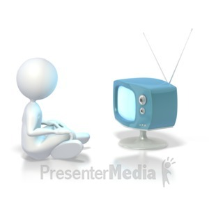 ID# 3837 - Stick Figure Watching Tv  - Presentation Clipart