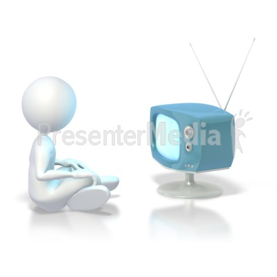 Stick Figure Watching Tv  PowerPoint Clip Art