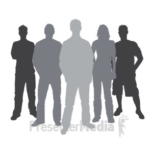 ID# 3838 - Group Casual People Silhouette - Presentation Clipart