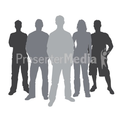 Group Casual People Silhouette PowerPoint Clip Art