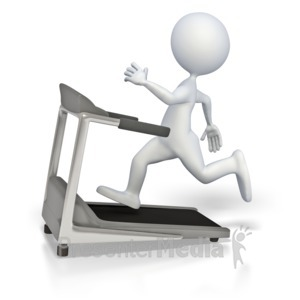 ID# 3847 - Stick Figure Running On Treadmill - Presentation Clipart