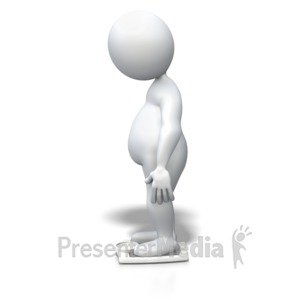 ID# 3853 - Stick Figure Overweight Scale - Presentation Clipart