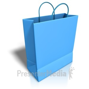 ID# 3874 - Empty Blue Shopping Bag - Presentation Clipart