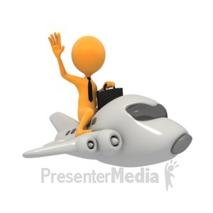 ID# 3912 - Business Figure On Jet - Presentation Clipart