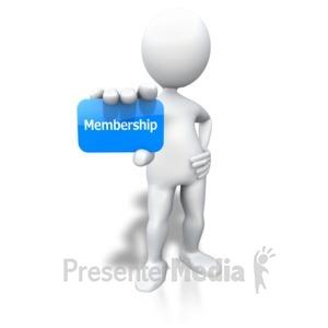 ID# 3914 - Stick Figure Holding Membership Card - Presentation Clipart