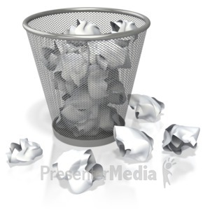 ID# 3924 - Garbage Can Filled with Paper - Presentation Clipart