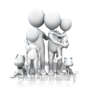 ID# 3932 - Stick Figure Family Pets Portrait - Presentation Clipart