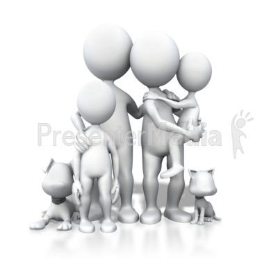 Stick Figure Family Pets Portrait PowerPoint Clip Art