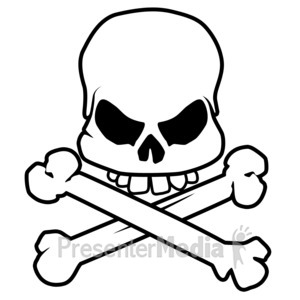 ID# 3961 - Scary Skull Bones - Presentation Clipart