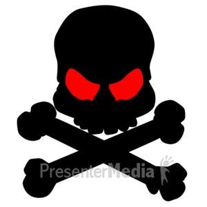 ID# 3964 - Black Skull Bones - Presentation Clipart