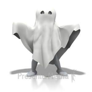ID# 3969 - Stick Figure Ghost Spooky - Presentation Clipart