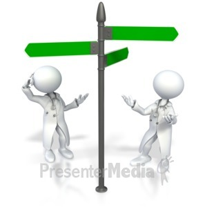 ID# 3975 - Doctor Figures Look Direction Signs - Presentation Clipart
