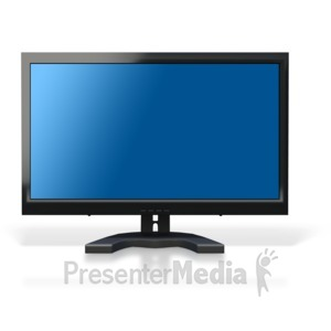 ID# 3985 - Computer Monitor Blue Screen - Presentation Clipart