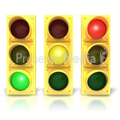 Three Traffic Stoplights PowerPoint Clip Art
