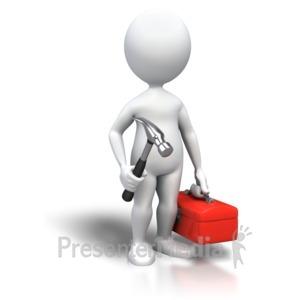 ID# 4067 - Stick Figure Handyman Toolbox - Presentation Clipart